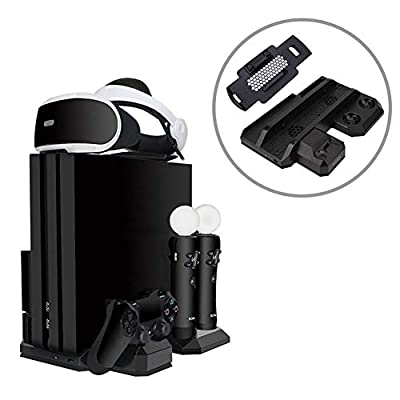 YYKJ Silent Cooling Bracket, PSVR Tray Bracket, Vertical Placement, Space Saving, Charger Docking Station, Suitable for PS4/PRO/SLIM/VR