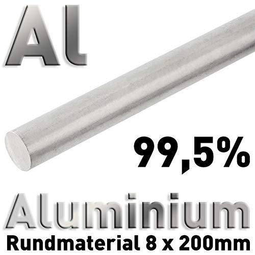 Aluminiumstab 8 x 200 mm, Reinaluminium Al 99,5, Aluminiumstabanode, Aluminiumelektrode für Galvanik, Aluminium
