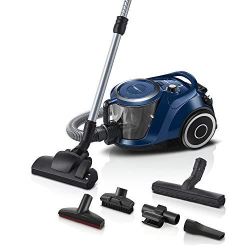 Bosch Staubsauger beutellos Serie 6 BGC41X36, Bodenstaubsauger, ideal für Allergiker, Hygiene-Filter, Bodendüse für Parkett, Teppich, Fliesen, starke Saugleistung, leise, 600 W, blau