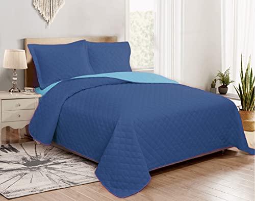 GoldenHome Tagesdecke Primaverile 100 g/m² Doppelseitige einfarbige Mikrofaser-Decke Modell Aurora Einzelbett Tagesdecke für französisches Bett 160 x 190 cm blau/azurblau