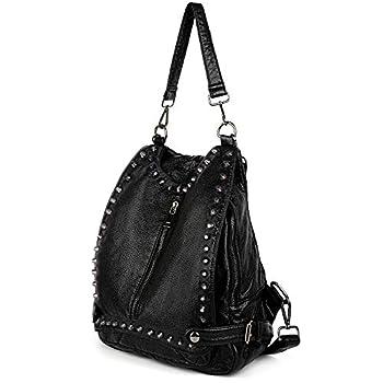 UTO Women Backpack Purse PU Washed Leather Rivet Studded Convertible Ladies Rucksack Shoulder Bag Black