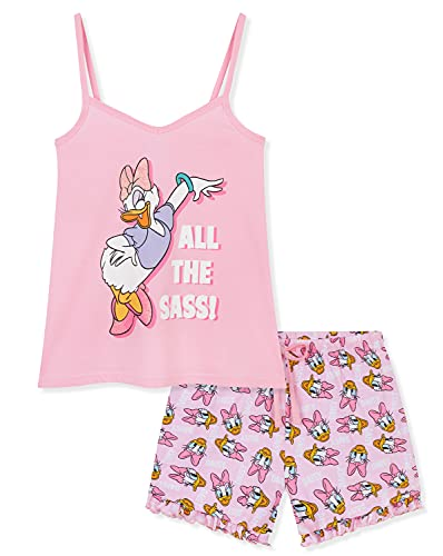 Disney Schlafanzug Damen, Pyjama Damen Kurz, Nachtwäsche Damen Set, S-XL (Rosa, S)
