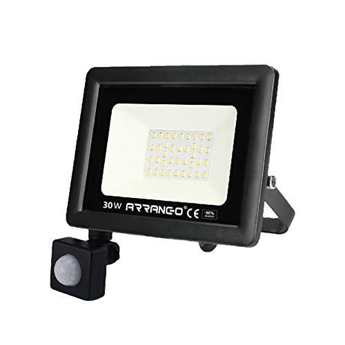 Faretto LED da Esterno con Sensore di Movimento 30W Bianca Fredda 6000K Faro Esterni IP65 Impermeabile er Parcheggio, Ingresso, Corridoio, Garage.