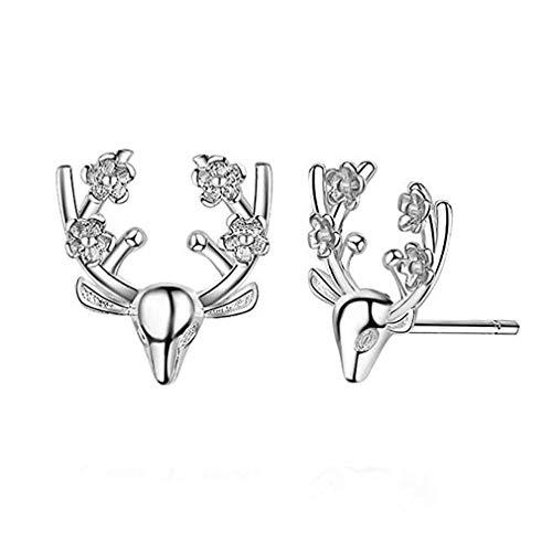 N-K PULABO Deer Earrings Rivet Fawn Reindeer Sika Deer Christmas Earrings Flowers Antlers Elegant Delicate Earrings Sturdy and Practical Delicate