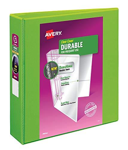"Avery 17838 Durable View Binder, 2"" Slant Rings, 500-Sheet Capacity, DuraHinge, Green"