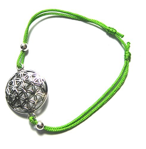 Armband Blume des Lebens 18 mm 925er Silber mit verstellbarem grünen Stoffband