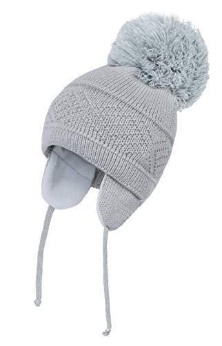 EOZY - Pasamontañas para esquí, para bebé, niña, invierno, cálido, forro polar, algodón, sombrero, gorro de punto pompón, niño o niño, bambú, bonito para exterior gris 1-2 años