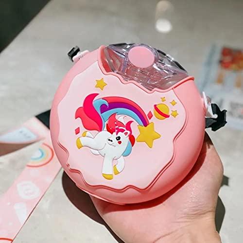 Lindo dinosaurio de dibujos animados elefante donas botella de agua para niños creativa taza de silicona portátil para niños con regalo de paja, 380 ml, rosa