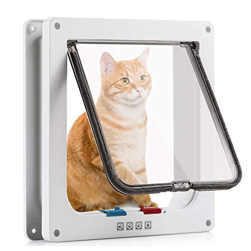 Pujuas - Puerta para gatos y perros con cierre magnético de 4 vías, para gatos y perros pequeños, puerta para gatos con túnel