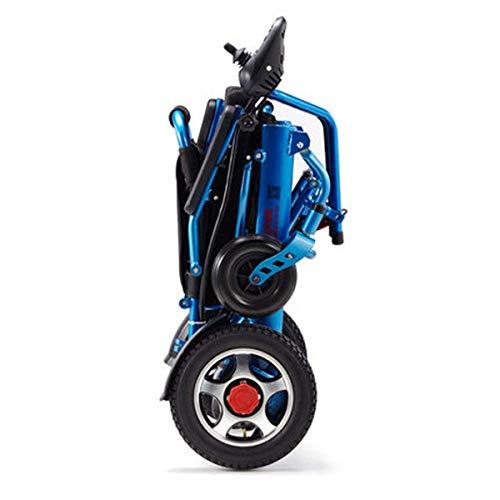 Leichte faltende tragen elektrische Rollstühle, dauerhafter Rollstuhl, sicher und einfach für zusätzlichen Komfort Fahren, blau