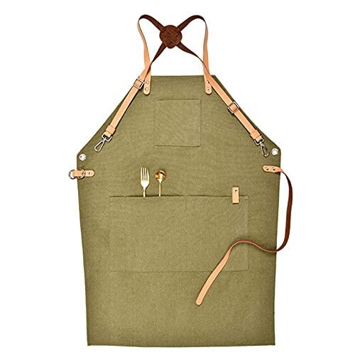 Dashun Delantal de chef con espalda cruzada para hombres y mujeres con correas ajustables y bolsillos grandes de lona (gris/verde militar) Delantales de lona para adultos, correa ajustable para arti