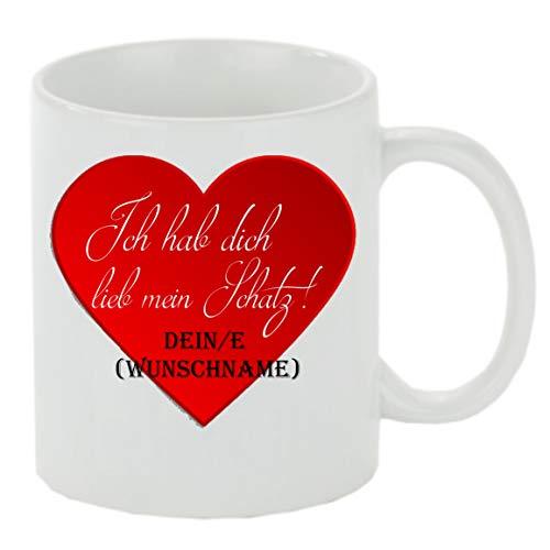 Creativ Deluxe Kaffeebecher Ich hab Dich lieb Mein Schatz. Dein/e (Wunschname) Kaffeetasse mit Motiv, Bedruckte Tasse mit Sprüchen oder Bildern - auch individuelle Gestaltung