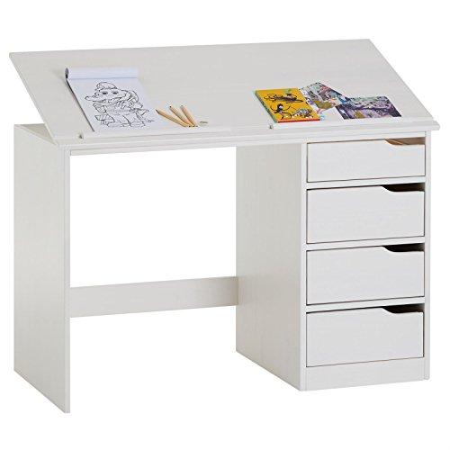 IDIMEX Bureau Enfant écolier Junior Emma pupitre inclinable avec 4 tiroirs en pin Massif, lasuré Blanc