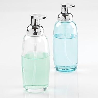 mDesign Glass Foaming Soap Dispenser Pump 2pc Bathroom Accessory Set - Aqua/Chrome, Clear/Chrome