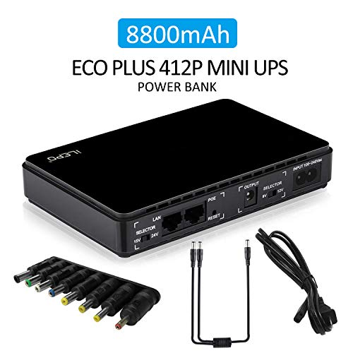 iNepo Mini ups Gruppo di continuità per Router Wireless, Modem, Telecamera, Videocamera. (Nero)