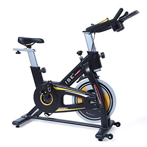 ISE Vélo d'appartement de Fitness Cardio Exercice Bike Intérieur, Poids d'inertie de 15 KG avec Programme et l'Ecran Silencieux, Guidon et Siège Réglables (Noir 7909)