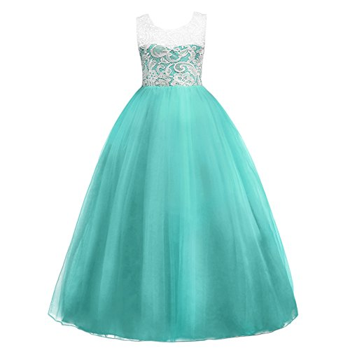 Little Big Girls Princess Floor Length Lace Tulle Bridesmaid Dress Flower Wedding Pageant Party Prom Long Maxi Evening Dance Ball Gown Turquoise 5-6