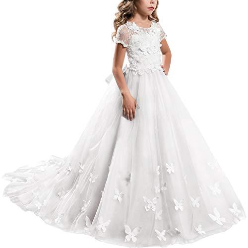 FYMNSI Vestido de Niña de Las Flores de Tul Maxi Largo Vestido de Rncaje de Cumpleaños Manga Corta Vestido de Primera Comunión Elegante Boda Fiesta Bautizo Vestidos Blanco 12-13 Años