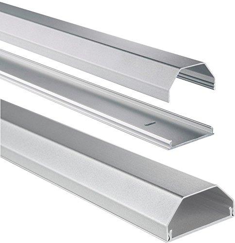 Hama Kabelkanal Alu (Aluminium, eckig, 110 x 5 x 2,6 cm, bis zu 8 Kabel) silber