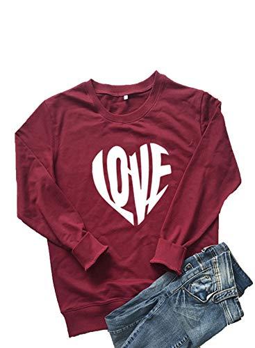 CORAFRITZ Damen-T-Shirt, weich, für Valentinstag, lustig, Grafik, langärmelig, süßer Pullover, leichtes Oberteil Gr. 36-38, rot