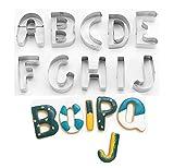 SurgeHai 26-Piece Large Alphabet Cookie Cutter Set (A - Z), Stainless Steel Decorating Tools Letters Fondant Cutter
