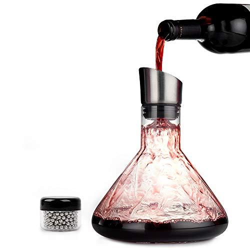 OS Oak & Steel ENGLAND 1,5 Liter Wein Kristallglas Dekanter inkl. Reinigungsperlen, Bürste & Trichter