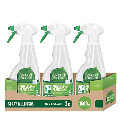 Seventh Generation Spray limpiador Multiusos Free and Clear, Pack de 3 x 500 ml (Total: 1500 ml)