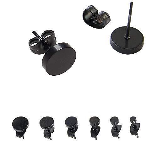 WedDecor Acero Inoxidable 3mm-8mm Negro Pendiente Tachuelas Juego para Hombres Y Mujeres Piercing Redondo Joyería Accesorio de Moda - Negro