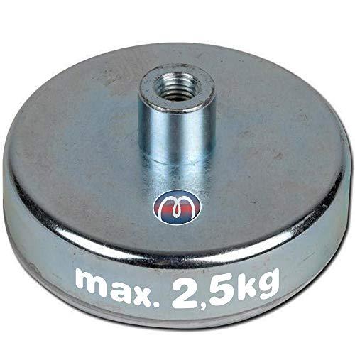 Flachgreifer Topfmagnet Neodym Gewindebuchse verzinkt Ø 6mm - Ø 32mm - Flachgreifer kommen vor allem im Metallbau, Anlagenbau, Vorrichtungsbau, Messebau, Modellbau zum Einsatz, Größen:Ø 10mm   M3   2.5kg Haftkraft