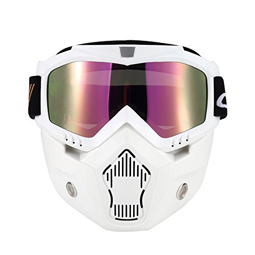 KKmoon Mortorcycle Mask Detachable Goggles and Mouth Filter for Open Face Helmet Motocross Ski Snowboard (White)