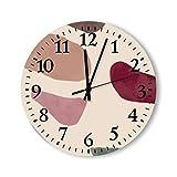 DKISEE Reloj de pared redondo de madera con piedras de color para dormitorio, sala de estar, hogar, 30,4 x 30,4 cm