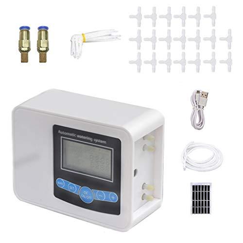Joocyee Solar Smart Garden riego automático Controlador de Bomba de Tiempo de riego, 2 temporizadores de riego, 2