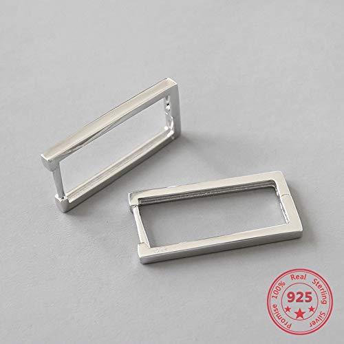 Pendientes geométricos cuadrados de plata de ley 925 con hebilla de oreja para mujer, joyería de moda, regalo de cumpleaños