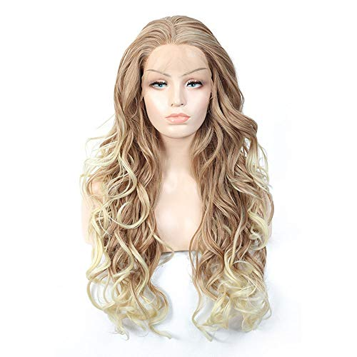 Faus Koco US And European Synthetic Lace Front Wig Long Curly Hair Dyeing Gradient Caps 70CM