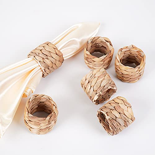 WOHIWO Woven Napkin Rings Set of 6, Farmhouse Napkin Rings Handmade by Natural Water Hyacinth, Fabric Napkin Rings for Party, Wedding, Supplies for Dinner Table Decoration