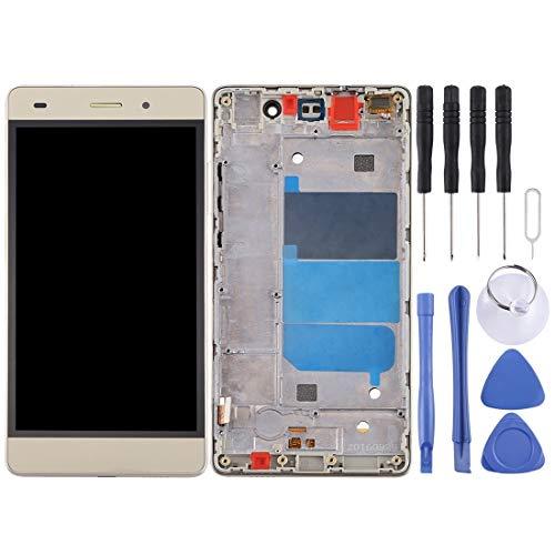 Dangshanchao Pantalla LCD para teléfonos móviles QRPGGHE for Huawei P8 Lite Pantalla LCD y digitalizador Asamblea con Marco Completo (Negro) (Color : Gold)