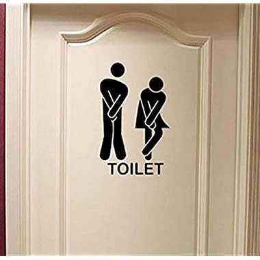 Leoy88 Removable Man Woman Washroom Toilet WC Signpost Wall Sticker Home Decor Wall Art Bathroom Office Home (1322cm()