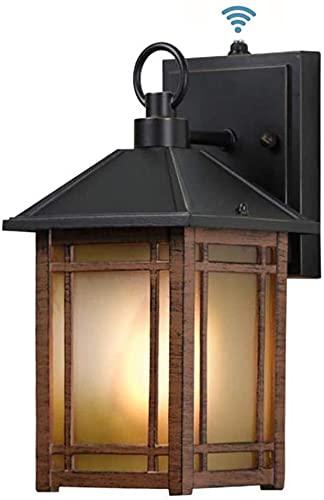 UYHGO Lampada da parete con sensore crepuscolare per esterni, in alluminio, da parete, impermeabile, in vetro trasparente, con attacco E27, per porta d'ingresso, garage, lampadina non inclusa