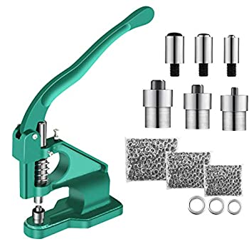 Hand Press Grommet Machine Heavy Duty Eyelet Machine with 3 Dies & 1500pcs Grommets 6/10/12mm Industrial Hole Punch Machine Grommet Tool Kit for for Banners Signs Awnings Posters Belts Bags Shoes