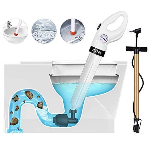 INTEY Déboucheur de Toilettes - avec Pompe de Haute Pression, Déboucheur de Canalisation avec 3 Ventouses et Gonfleur pour Nettoyager Évier, Baignoire, Lavabo,Piscine