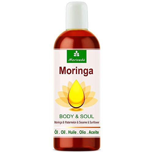 MoriVeda® - Moringa Öl Body & Soul (Körper & Seele) 100ml; 100% kaltgepresste Öle aus Moringa Samen, Wassermelone, Sesam und Sonnenblume. Für Küche, Massage, Hautpflege, Anti-Aging, Wellness (1x100ml)