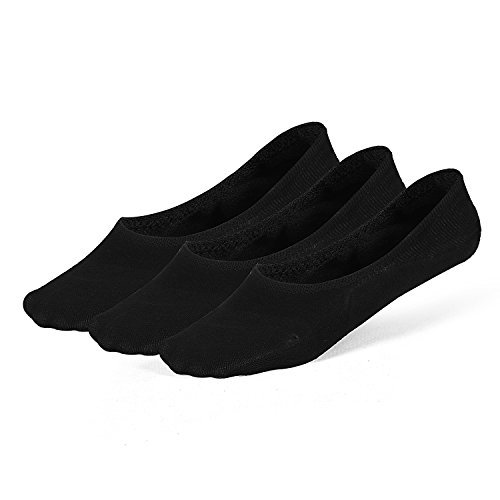 LAISOR Cotton No Show Sock Women's invisible Non Slip Flat Boat Liner Socks (A 3 pairs black)