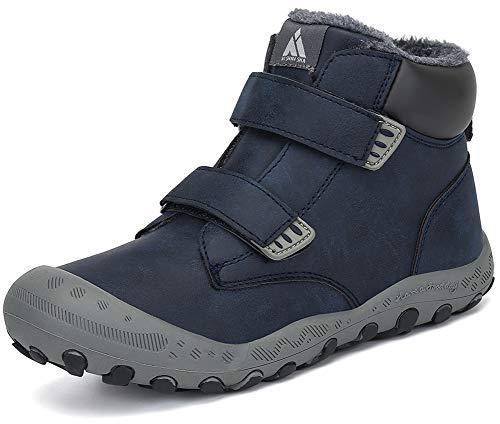 Mishansha Schneestiefel Jungen Mädchen Winterstiefel Kinder Winterschuhe Warm Gefüttert Stiefel Sportlich Wanderschuhe Winter Trekking Schuhe Blau, Gr.36 EU