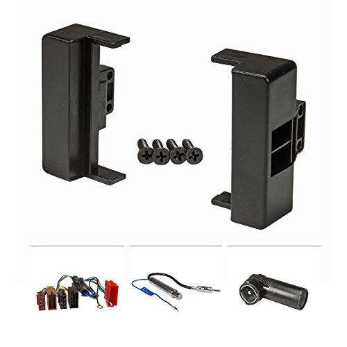 tomzz Audio 2403-011 Radioblende Set kompatibel mit Audi A4 B5 8D schwarz mit Aktivsystemadapter ISO, Antennenadapter Phantomeinspeisung DIN ISO