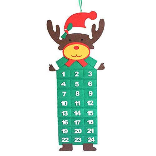 Brownrolly Kerstkalender met tas hangende ornament vilt Countdown-kalender voor Kerstmis Realistic Sale 2019