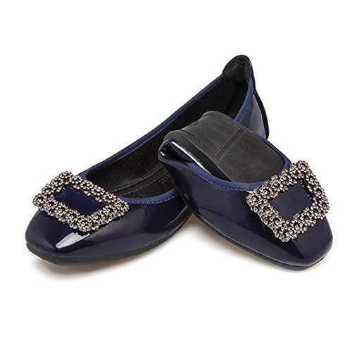 Zapatillas de Ballet con Hebilla de Cristal para Mujer Zapatillas de Bailarina Plegables con Comodidad y Boca Baja