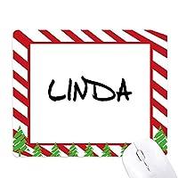 特別な手書きの英語の名前はリンダ ゴムクリスマスキャンディマウスパッド