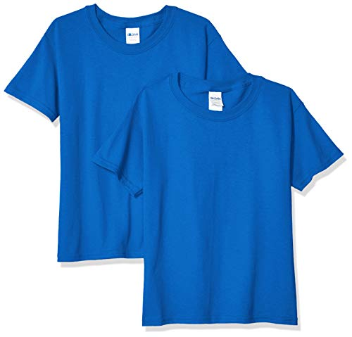 Gildan Kids' Big Heavy Cotton Youth T-Shirt, 2-Pack, Royal, Small