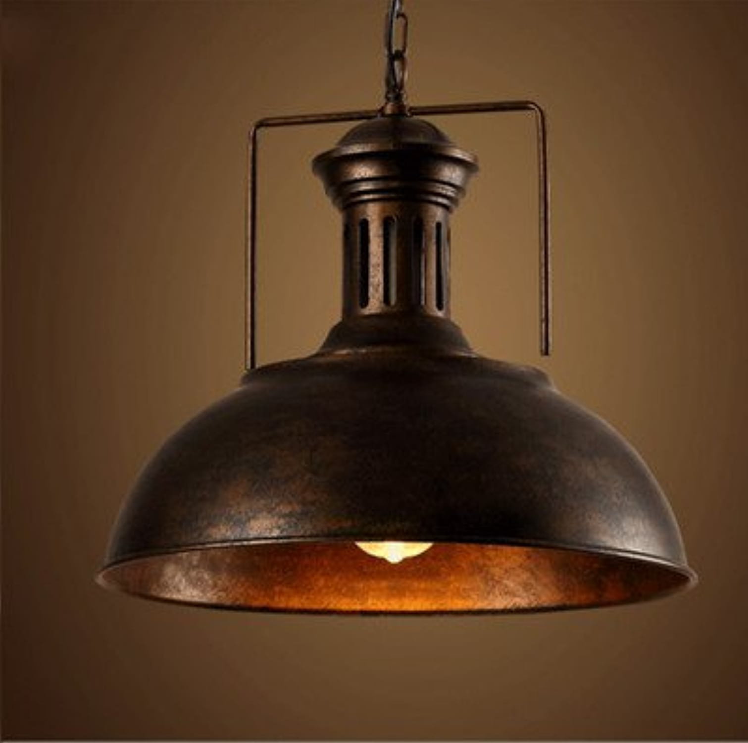 Inconnu HD Loft Iron lumière Industriel Wind Village Warehouse Retro Creative Bar Restaurant Single Head Cover Lustre,Couleur rouillée,410mm