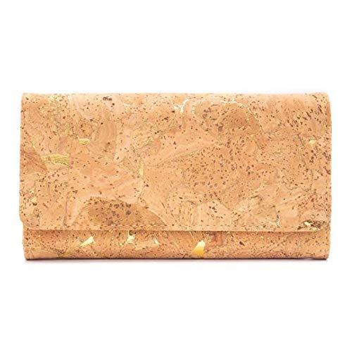 OLÁ KORK Natürliches Kork Portemonnaie - Brieftasche für Frauen   Nachhaltig - Vegan - Fair - Handgemacht - Kork Geldbeutel mit Gold oder Silber Akzenten (Gold Akzent)